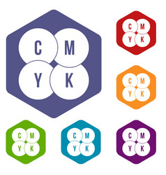 Cmyk circles icons set vector