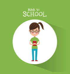 back to school student girl nerd tail hair glasses vector image