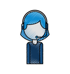 Portrait of customer support operator call center vector