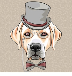 Hipster dog labrador retriever vector