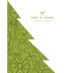Green bows christmas tree silhouette pattern frame vector