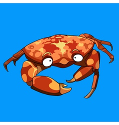Cartoon crab on a blue background vector