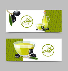 Olive oil banner set vector