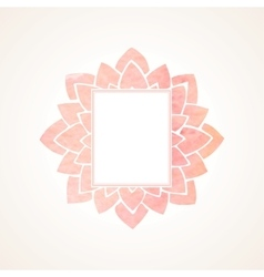 Watercolor pink floral frame vector
