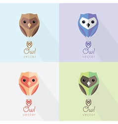 Flat owl icons vector