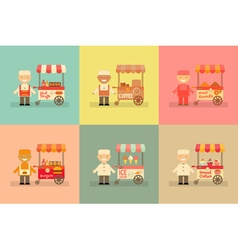 Food Carts with Sellers Set vector image