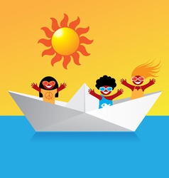 Happy boat people vector