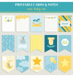 Baby Boy Card Set - for birthday baby shower party vector image