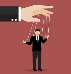 Businessman puppet on ropes vector