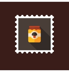Mushroom canned flat stamp with long shadow vector