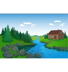 Beautiful landscape with river vector