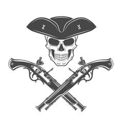 Evil captain skull in cocked hat  jolly vector