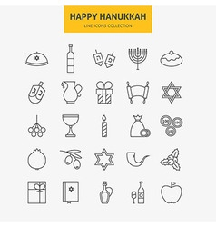 Line jewish happy hanukkah icons big set vector