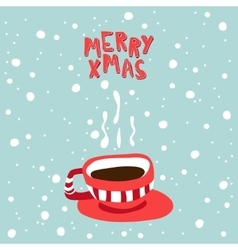 Xmas card of a cup with hot vector