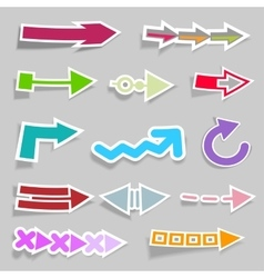 Flat arrow stickers collection vector