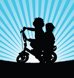 Children on bike silhouette in nature vector