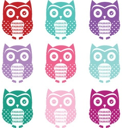 Colorful Cute Owl Silhouette Collections vector image