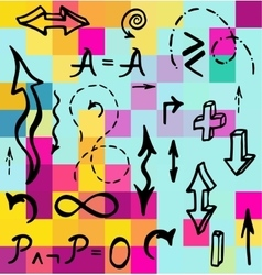 Hand drawn mathematical elements vector image