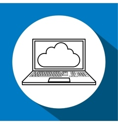 Cloud computing design technology icon isolated vector