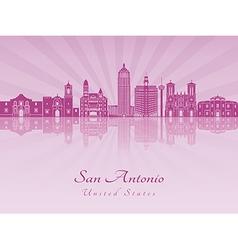 San Antonio skyline in purple radiant orchid vector image