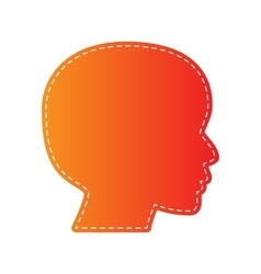 People head sign orange applique isolated vector