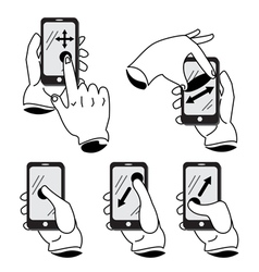 Icon hand mobile phone vector