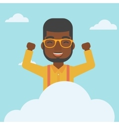 Man sitting on cloud vector