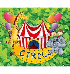 A circus tent with animals and kids vector image vector image