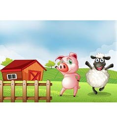 A farm with a pig and a sheep vector image vector image