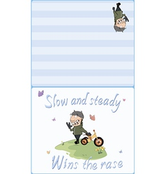 Biker and a childrens tricycle postcard vector image