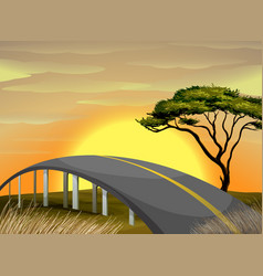 bridge across the field at sunset vector image vector image