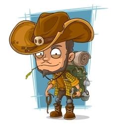 Cartoon crafty man in cowboys hat vector