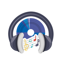 Cd musical notes and headphone concept vector