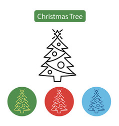 christmas tree line icon vector image vector image