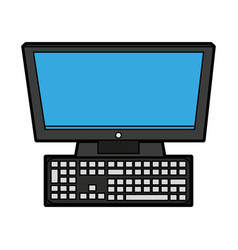Computer with keyboard icon image vector