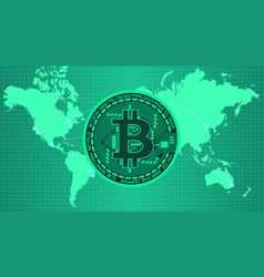 Crypto currency bitcoin in trendy green colors vector