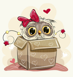 cute cartoon owl girl and a box vector image vector image