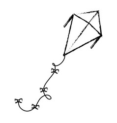 Cute kite flying icon vector