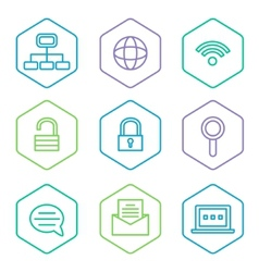 data analytics icons set big data concept icons vector image