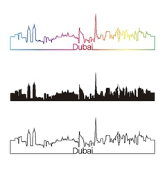 Dubai skyline linear style with rainbow vector