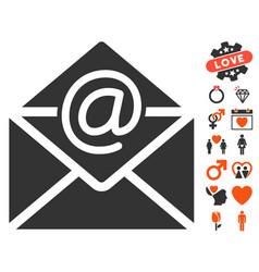 Email icon with valentine bonus vector