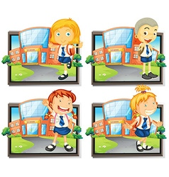Four students in uniform at school vector image vector image