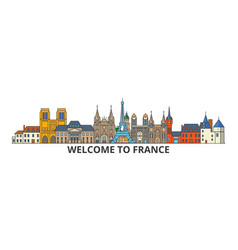 France outline skyline french flat thin line vector