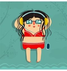 Funny sunburning girl listening to music vector