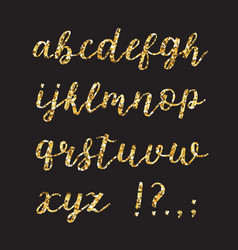 Golden glitter alphabet brush glowing font vector
