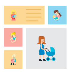 Icon flat mother set of nanny mother vector