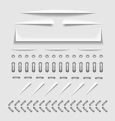 Paper cut stitch and perforation web dividers vector image