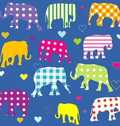 Patterned elephants background for kids vector image vector image