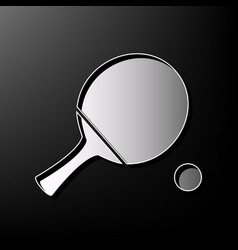 Ping pong paddle with ball gray 3d vector