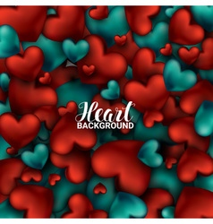 Red and turquoise heart valentines day card love vector